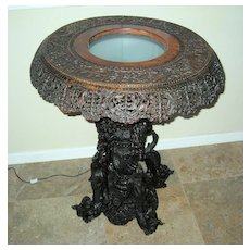 Exquisite Anglo-Indian  Carved Wood Pedestal Table