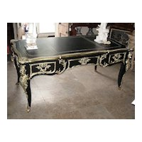French Style Ormolu-Mounted Black and Gilt Desk