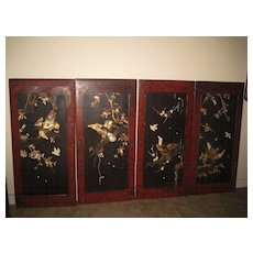 Old Japanese Lacquer and Inlaid Bird Panels