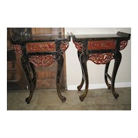 Pair of Chinese Red & Black Lacquer Side Tables