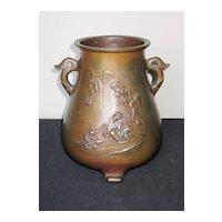 Superb Japanese Meiji Bronze Pear-Shape Vase