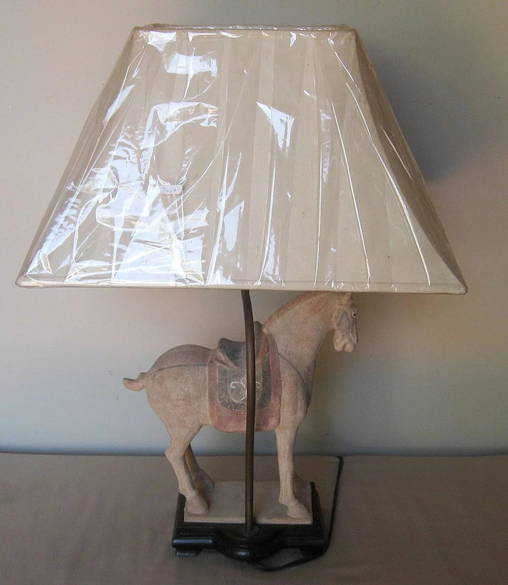 Pottery Barn Horse Bit Lamp: Chinese Unglazed Pottery Horse Lamp : Dynasty Collections