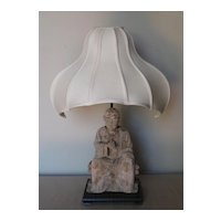 Chinese Seated Wood Lohan Lamp