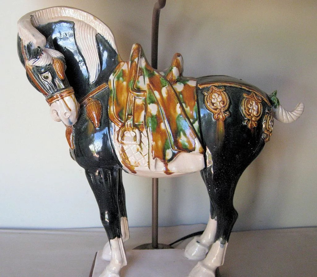 Pottery Barn Horse Bit Lamp: Chinese Sancai Pottery Tang Style Horse Lamp : Dynasty