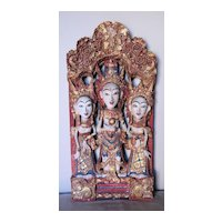 Elaborate Thai Wood Panel of Three Buddhist Figures