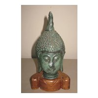 Thai Bronze Buddha Head on Wood Base