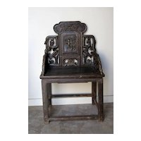 Set of Eight Chinese Elmwood Armchairs