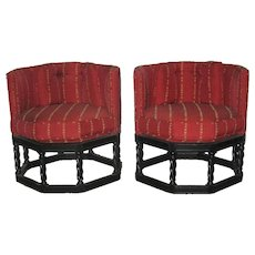 Pair Vintage  Chinese Chippendale Stools, Old Chinese Mann Theatre