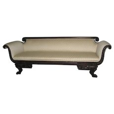 Elegant Late American Empire Off-White Upholstered Sofa