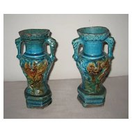 Pair of Ming Dynasty Fahua Glazed Vases