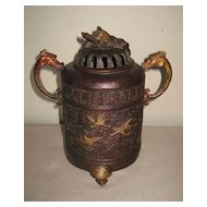Chinese Bronze Tripod Metal Incense Burner