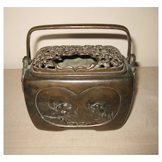 Antique Japanese Bronze Rectangular Koro