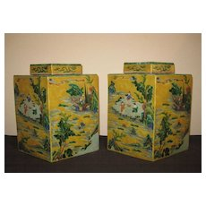 Pair of Chinese Octagonal Yellow Ground Porcelain Vases
