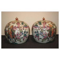 Pair of Beautiful Chinese Mandarin Rose Covered Jars