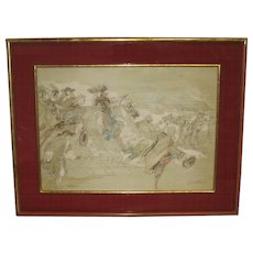 Serigraph signed  by Claude  Weibuch (French, b. 1927) scene from Don Quixote