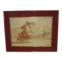 Serigraph signed  by Claude  Weibuch (French, b. 1927) of Don Quixote on Horseback
