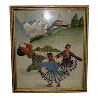 Framed Old Tibetan Folk Art Textile of Dancing Figures
