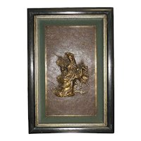 Framed Bronze Plaque of Guanyin and Deer