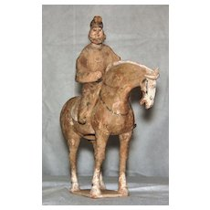 Tang Dynasty Pottery Horse with Foreign Rider