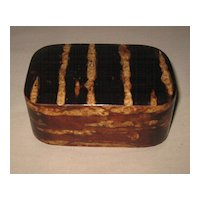 Japanese Superb Small Golden- Brown Striped Wood Box