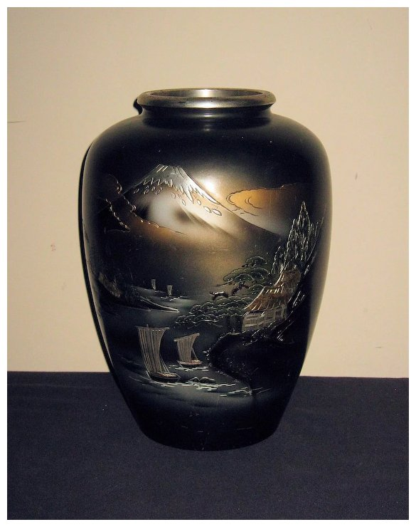 Large Old Japanese Bronze Vase With Mt Fuji Dynasty Collections
