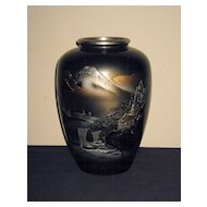 Large Old Japanese Bronze Vase with Mt. Fuji