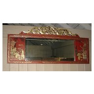 Splendid Chinese Red-Lacquer Mirror