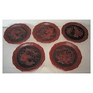 Five Vintage Cinnabar Plates by Weo Cho's Five Perceptions