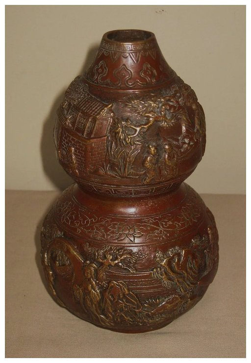 Chinese Bronze Double Gourd Vase Dynasty Collections Antiques