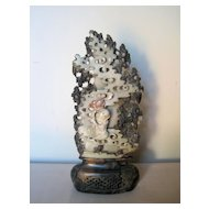 Antique Jade Carving of Figure in the Clouds