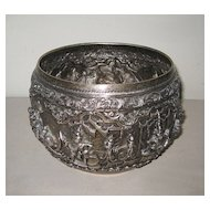 Antique Burmese Repoussé Silver Bowl