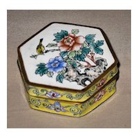 Chinese Floral Enamel Trinket Box