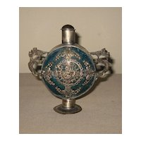 Vintage Chinese Blue with Metal Overlay Snuff Bottle