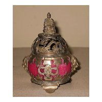 Small Vintage Chinese Pink Incense Burner