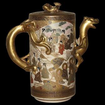 Japanese Antique Gilt Ceramic Satsuma Teapot