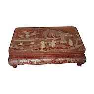 Japanese Antique Red Lacquer Inlaid Low Table