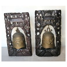 Pair of Japanese Bronze Bells with Wood Plaques