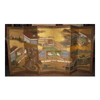 """Antique Japanese Six-Panel Screen """"Tale of Genji"""", Negoro Lacquer Frame"""