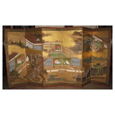 "Antique Japanese Six-Panel Screen ""Tale of Genji"", Negoro Lacquer Frame"