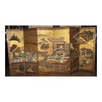 """Antique Japanese Six-Panel Screen """"Tales of Genji"""", Negoro Lacquer Frame"""