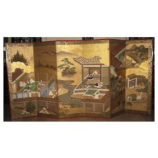 "Antique Japanese Six-Panel Screen ""Tales of Genji"", Negoro Lacquer Frame"