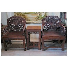 Chinese Pair of Carved Wood Arm Chairs & Side Table