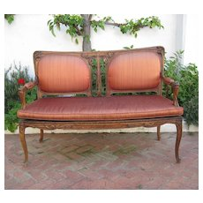 Superb French Art Nouveau Majorelle Walnut Settee