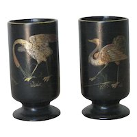Pair of Meiji Japanese Lacquer Sake Cups