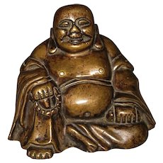 Chinese Bronze Seated Budai