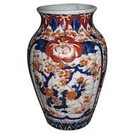 Japanese Antique Imari Porcelain Fluted Vase