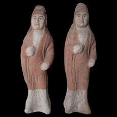 Pair of Chinese Tang Dynasty Pottery Figures