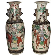 Pair of Chinese Export Crackle Ware Porcelain Vases