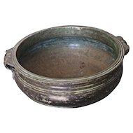 Antique Southeast Asian Bronze Low Bowl