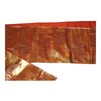 Splendid Japanese Abstract Gold and Orange Obi